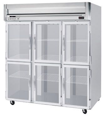 "Beverage Air HBR72-1-HG 75"" Three Section Reach-In Refrigerator, (6) Glass Door, 115v"