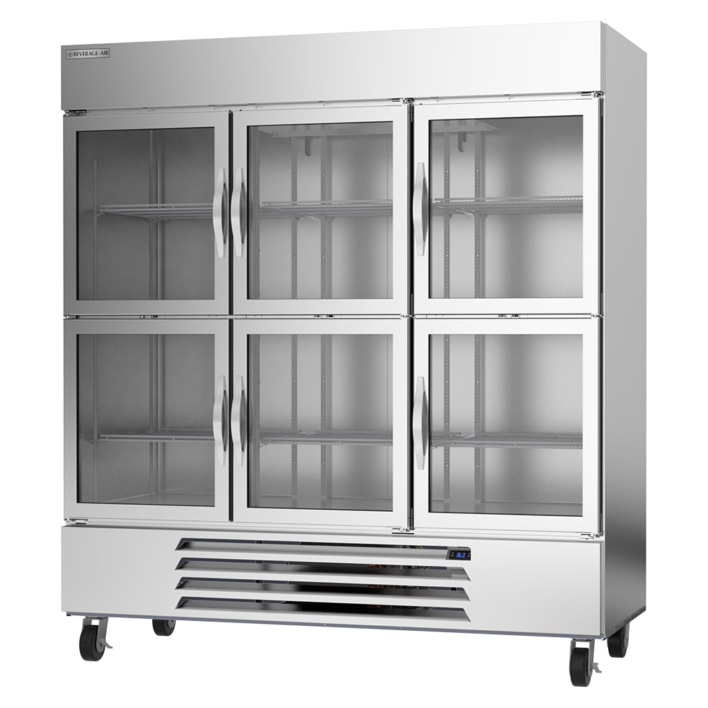 "Beverage Air HBR72HC-1-HG 75"" Three Section Reach-In Refrigerator, (6) Glass Doors, 115v"