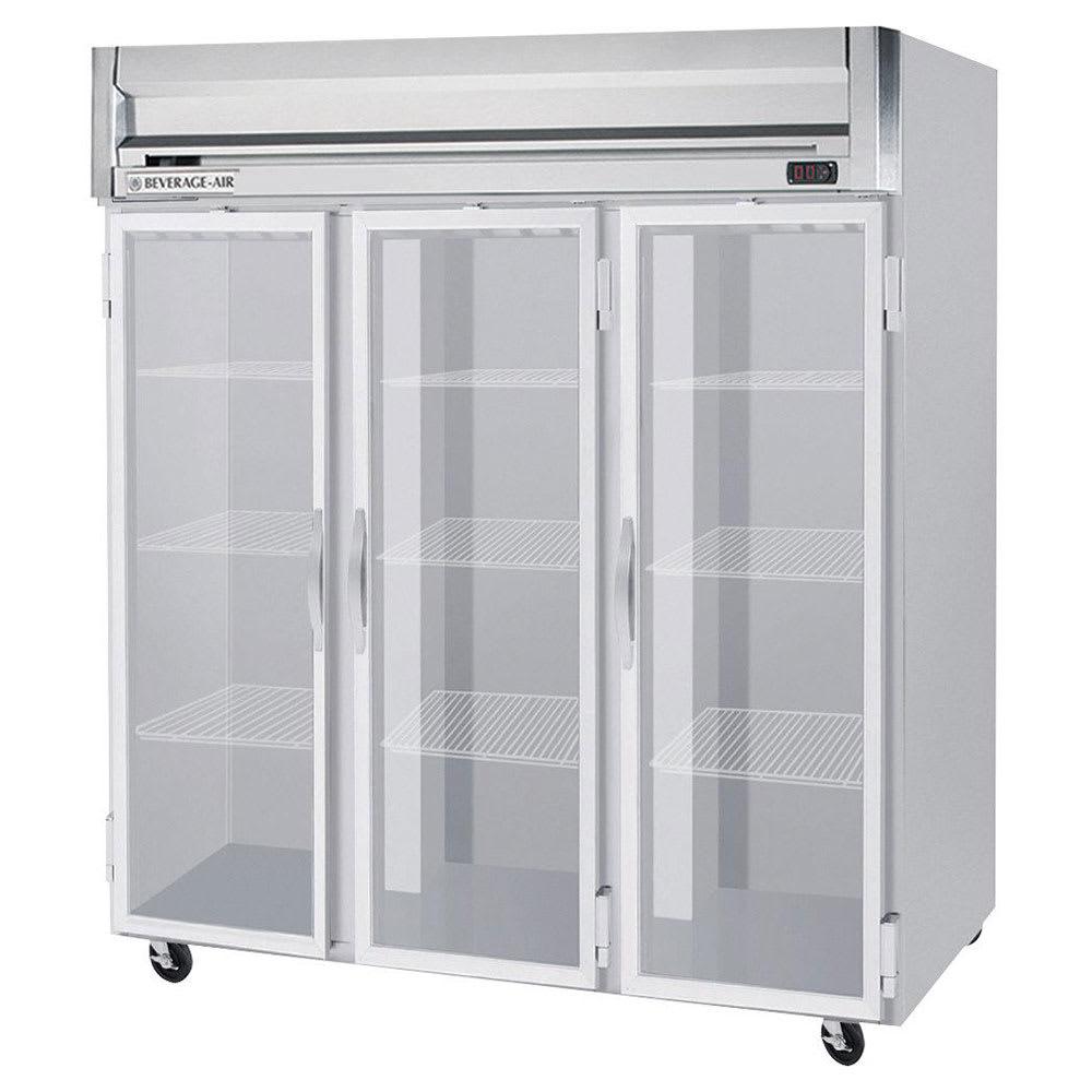 "Beverage Air HR3-1G 78"" Three Section Reach-In Refrigerator, (3) Glass Doors, 115v"