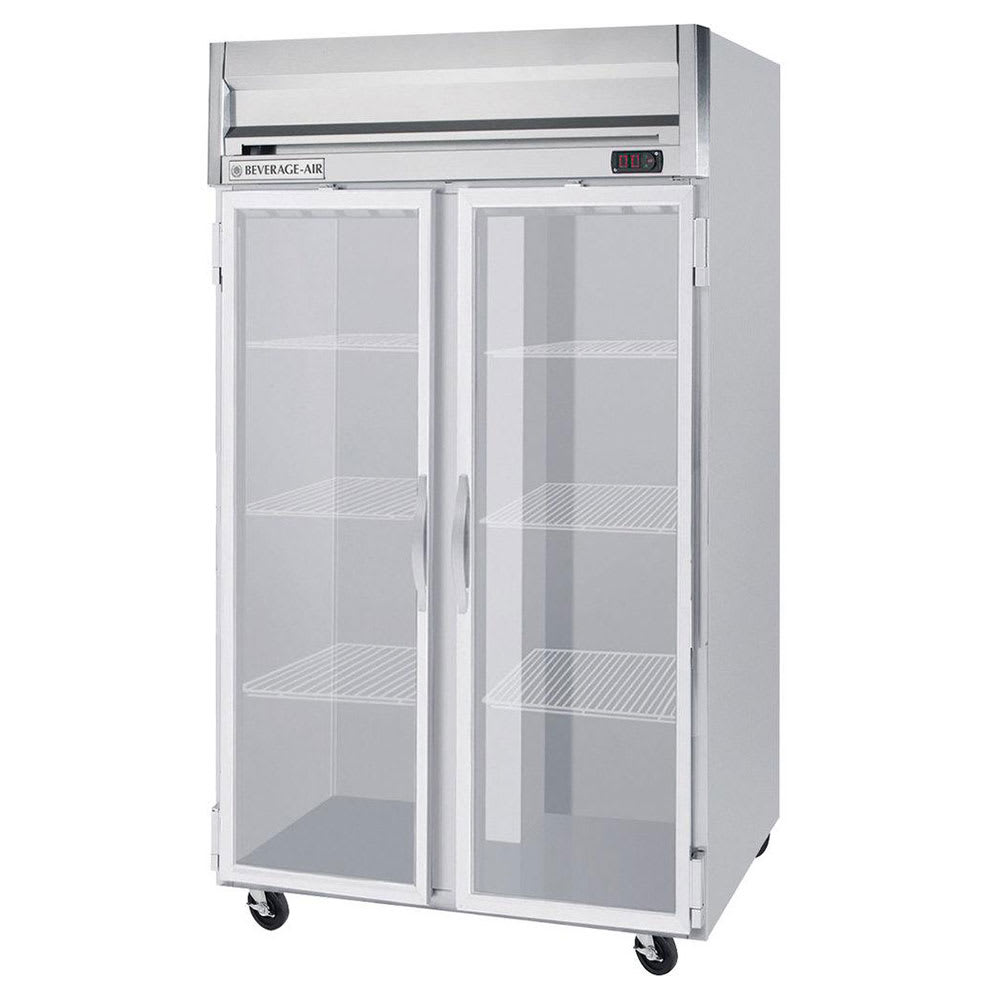"""Beverage Air HRS2-1G 52"""" Two Section Reach-In Refrigerator, (2) Glass Doors, 115v"""