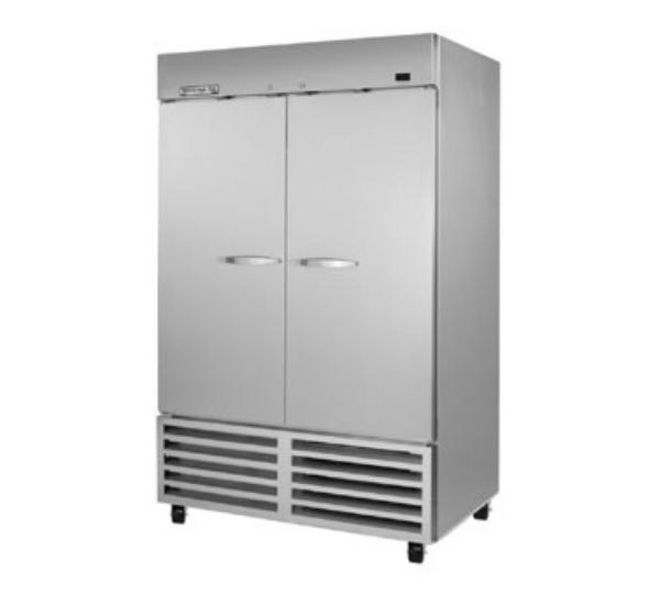 "Beverage Air KR48-1AS 54"" Two Section Reach-In Refrigerator, (2) Solid Door, 115v"
