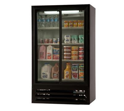 """Beverage Air LV17-1-B-54-LED 36"""" Two-Section Glass Door Merchandiser w/ Sliding Doors, 115v"""