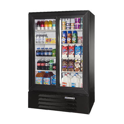 "Beverage Air LV17HC-1-W 36"" Two-Section Glass Door Merchandiser w/ Sliding Door, Black, 115v"