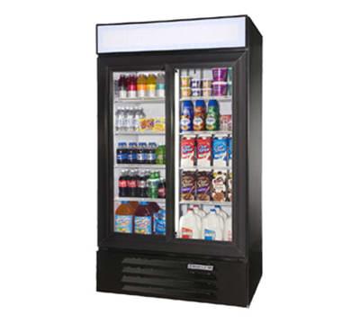 """Beverage Air LV38-1-B-LED 44"""" Two-Section Glass Door Merchandiser w/ Sliding Doors, 115v"""