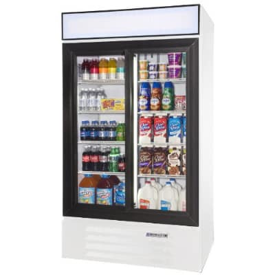 "Beverage Air LV38-1-W 44"" Two-Section Glass Door Merchandiser w/ Sliding Doors, 115v"