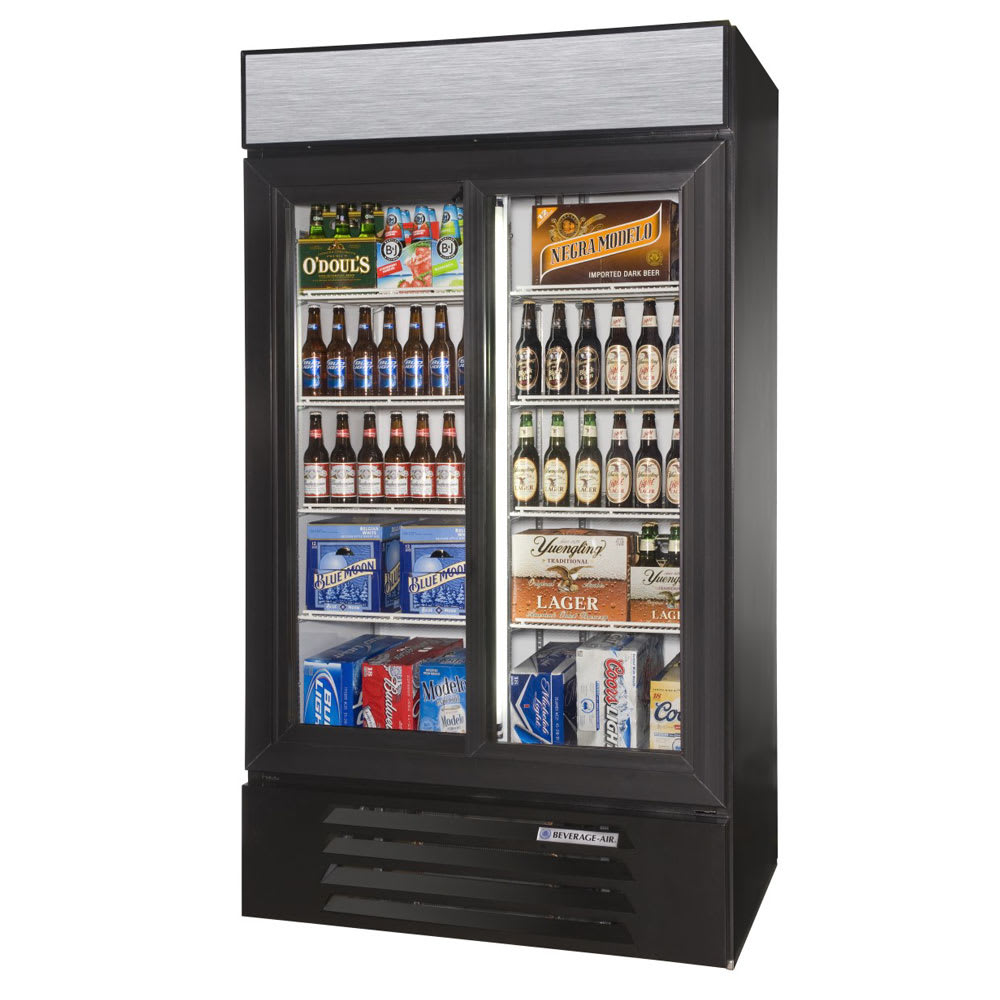 "Beverage Air LV38HC-1-B 43.5"" Two-Section Glass Door Merchandiser w/ Sliding Doors, 115v"