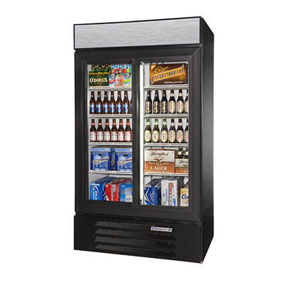 "Beverage Air LV38HC-1-W 43.5"" Two-Section Glass Door Merchandiser w/ Sliding Door, Black, 115v"