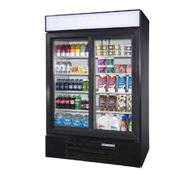 """Beverage Air LV45-1-B-LED 52"""" Two-Section Glass Door Merchandiser w/ Sliding Doors, 115v"""