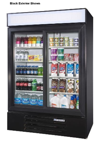 "Beverage Air LV45-1-W 52"" Two-Section Glass Door Merchandiser w/ Sliding Doors, 115v"