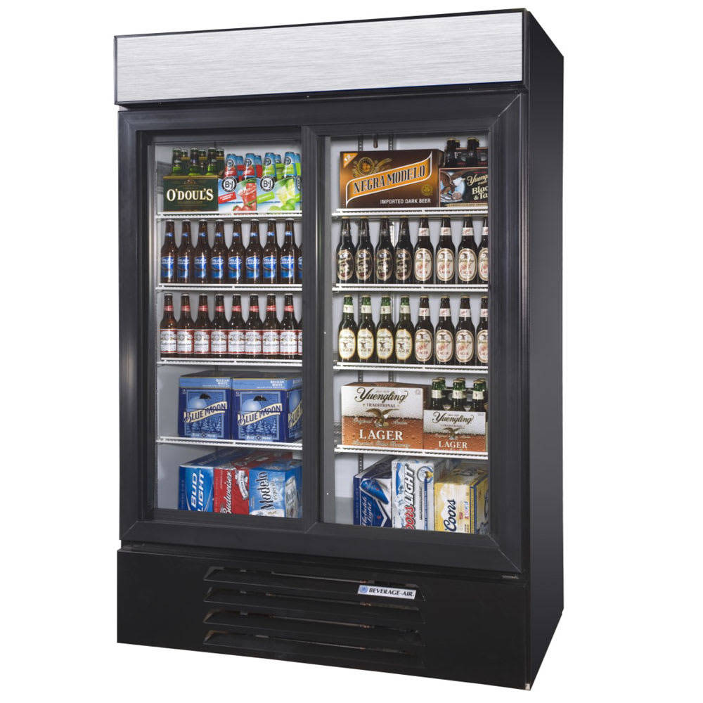 "Beverage Air LV45HC-1-B 52"" Two-Section Glass Door Merchandiser w/ Sliding Doors, 115v"