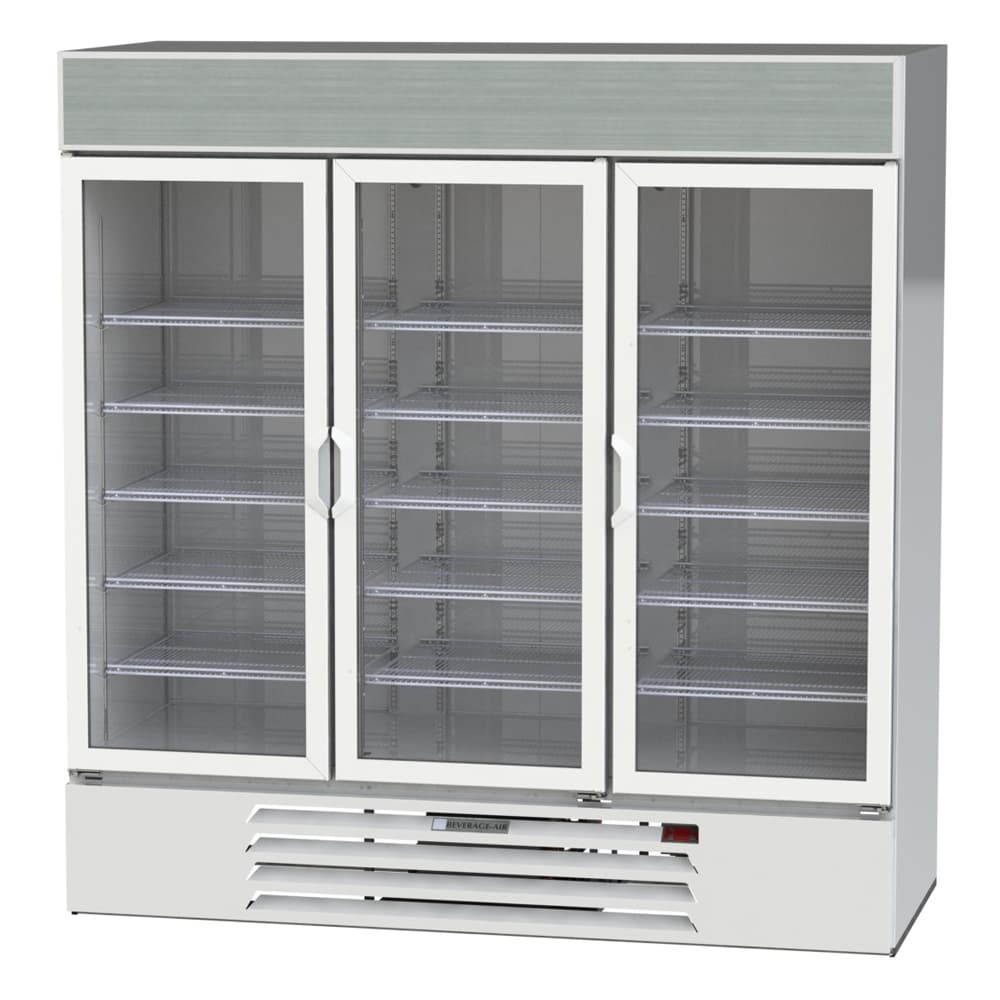 "Beverage Air LV72HC-1-W 75"" Three-Section Glass Door Merchandiser w/ Swing Doors, 115v"