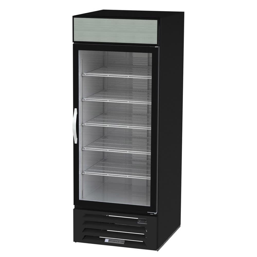 """Beverage Air MMF27HC-1-B 30"""" One Section Glass Door Freezer Merchandiser w/ Swing Door - Black, 115v"""