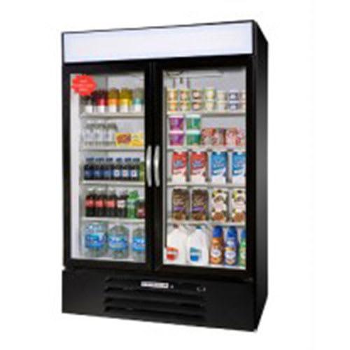 """Beverage Air MMF44-1-B 47"""" Two-Section Glass Door Merchandiser w/ Swing Doors, 115v"""