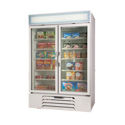 "Beverage Air MMF49-1-W-LED 52"" Two-Section Display Freezer w/ Swinging Doors - Bottom Mount Compressor, 115v"