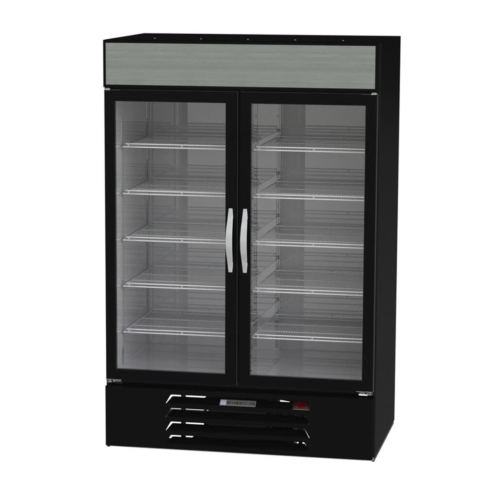 """Beverage Air MMF49HC-1-B 52"""" Two Section Glass Door Freezer Merchandiser w/ Swing Doors - Black, 115v"""