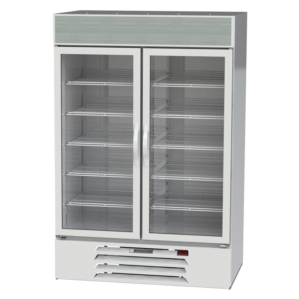 "Beverage Air MMF49HC-1-W 52"" Two Section Glass Door Freezer Merchandiser w/ Swing Doors - White, 115v"