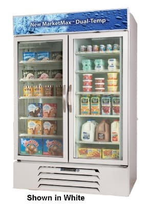 """Beverage Air MMRF49-1-BW-A-LED 52"""" Two-Section Glass Door Merchandiser w/ Swing Doors, 115v"""