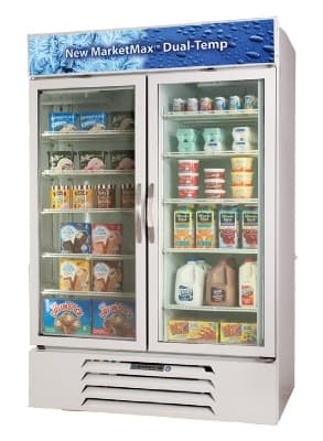 "Beverage Air MMRF49-1-WW-A-LED 52"" Two-Section Glass Door Merchandiser w/ Swing Doors, 115v"