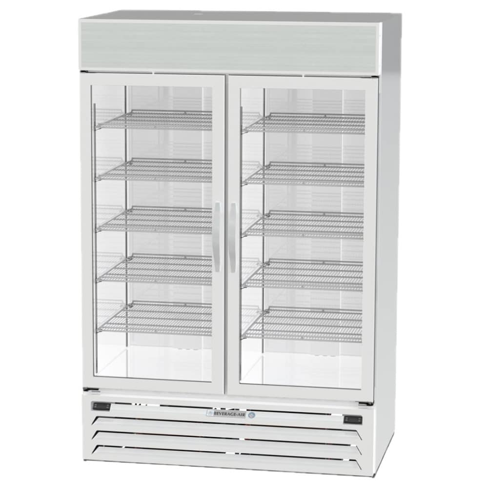 "Beverage Air MMRF49-1-WW-A-LED 52"" Two Section Commercial Refrigerator Freezer - Glass Doors, Bottom Compressor, 115v"