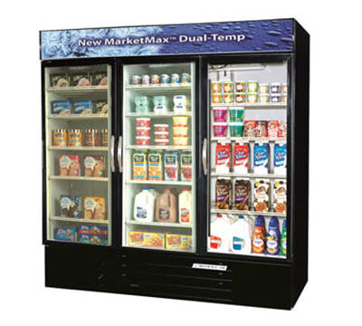 "Beverage Air MMRF72-1-BW-A 75"" Three-Section Glass Door Merchandiser w/ Swing Doors, 115v"