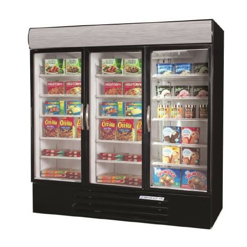 "Beverage Air MMRF72-1-BW-A-LED 75"" Three Section Commercial Refrigerator Freezer - Glass Doors, Bottom Compressor, 115v"