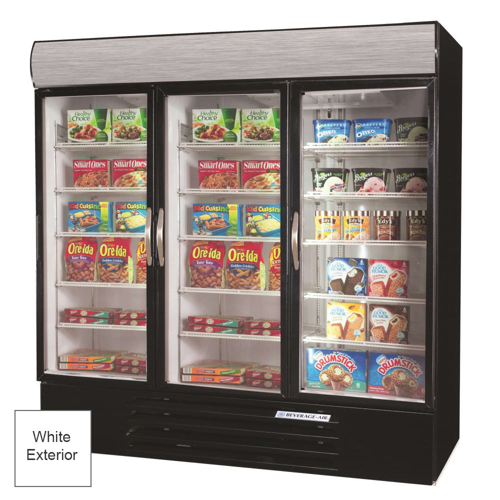 "Beverage Air MMRF72-1-W-LED 75"" Three-Section Glass Door Merchandiser w/ Swing Doors, 115v"