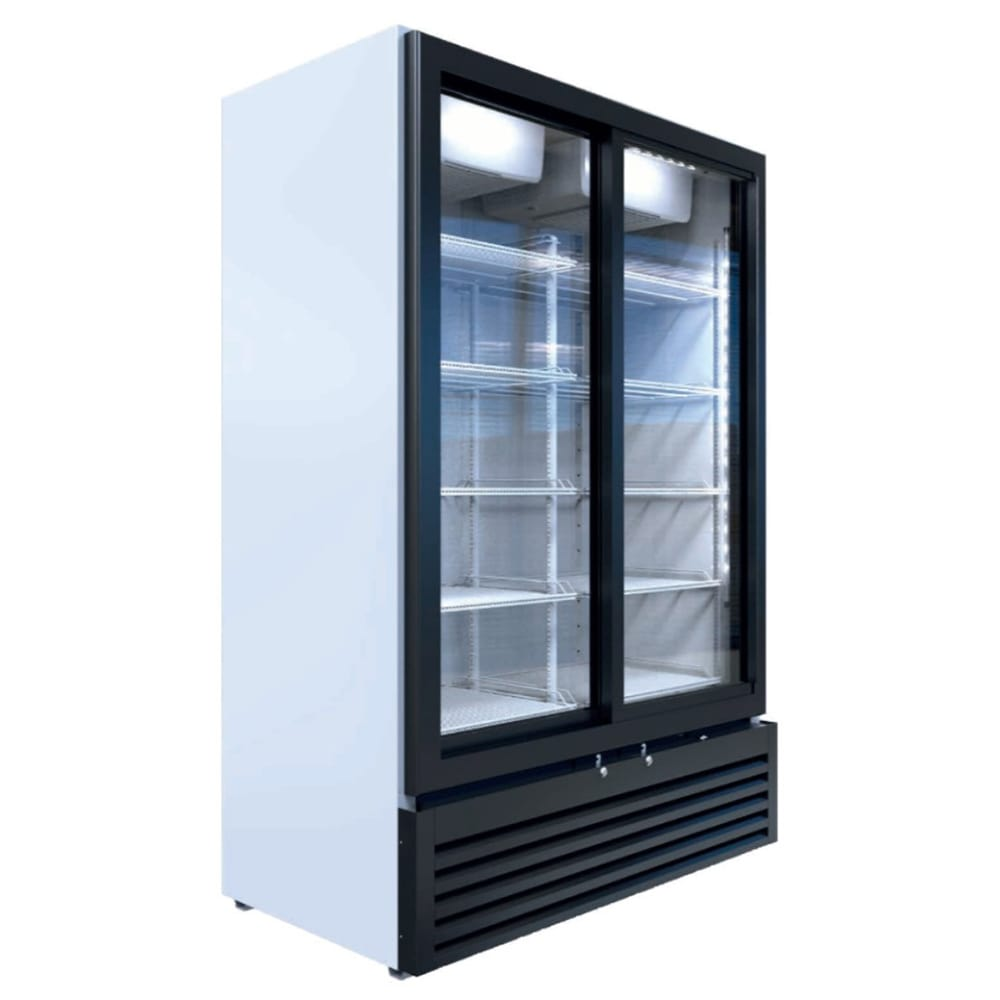 "Beverage Air MT53-1-SDW 54"" Marketeer™ Two-Section Glass Door Merchandiser w/ Sliding Doors, White, 115v"