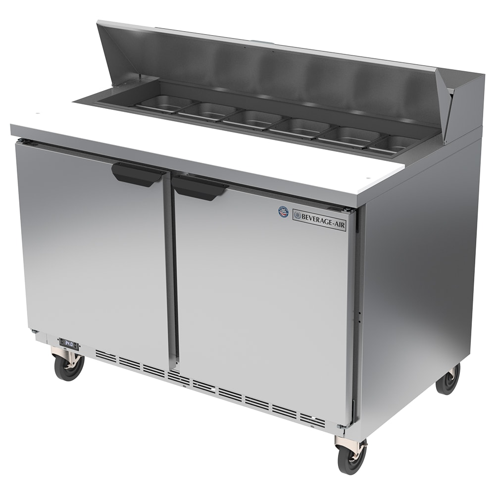"Beverage Air SPE48HC-12 48"" Sandwich/Salad Prep Table w/ Refrigerated Base, 115v"