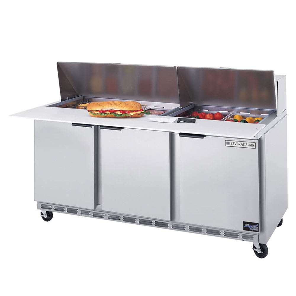 "Beverage Air SPE72-08 72"" Sandwich/Salad Prep Table w/ Refrigerated Base, 115v"