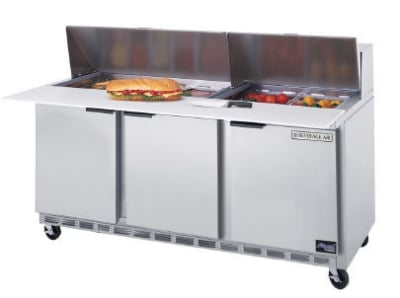 "Beverage Air SPE72-18 72"" Sandwich/Salad Prep Table w/ Refrigerated Base, 115v"