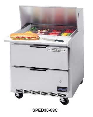 """Beverage Air SPED36-08C 36"""" Sandwich/Salad Prep Table w/ Refrigerated Base, 115v"""