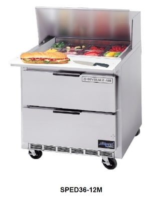 """Beverage Air SPED36-12M 36"""" Sandwich/Salad Prep Table w/ Refrigerated Base, 115v"""