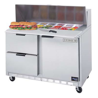 """Beverage Air SPED48-18M-2 48"""" Sandwich/Salad Prep Table w/ Refrigerated Base, 115v"""