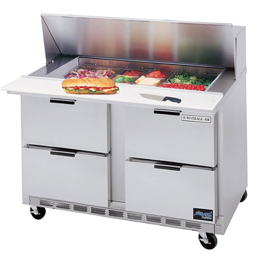 """Beverage Air SPED48-18M-4 48"""" Sandwich/Salad Prep Table w/ Refrigerated Base, 115v"""