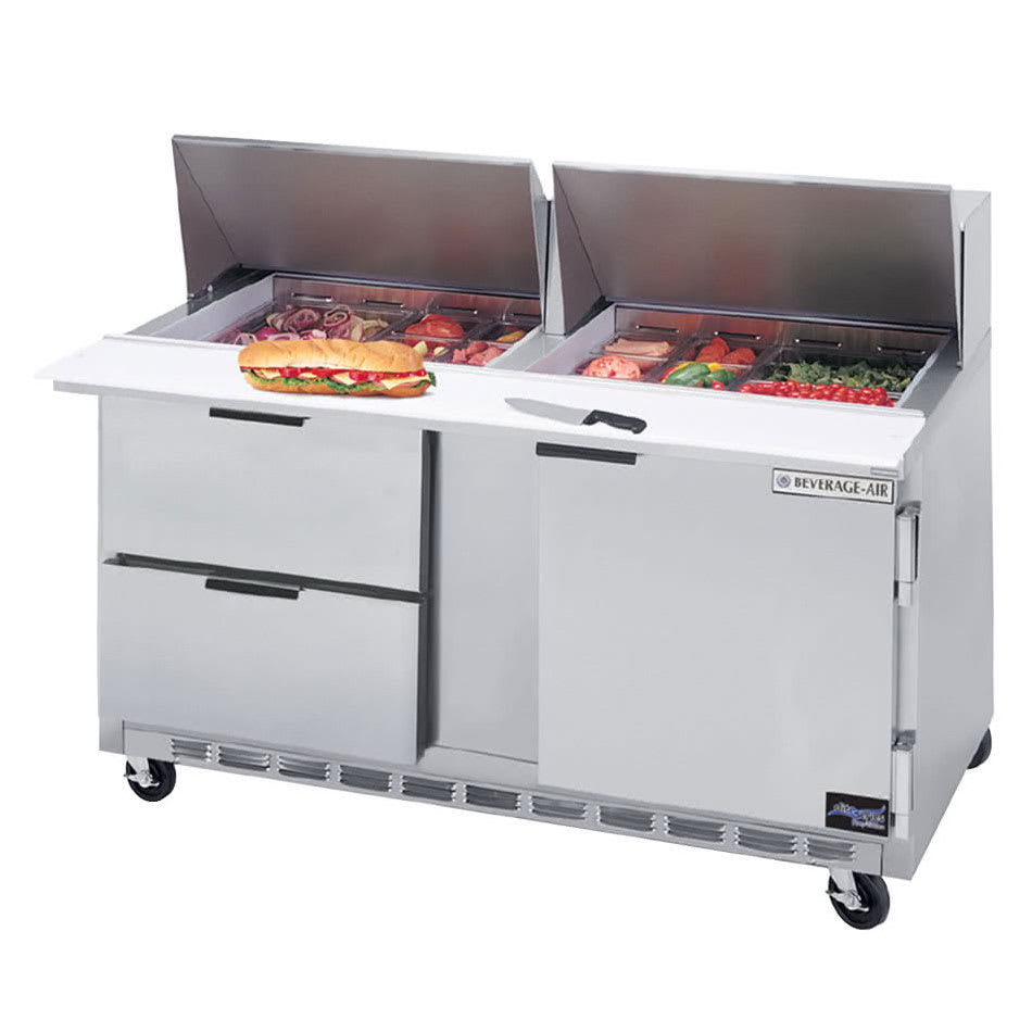 "Beverage Air SPED60-12M-2 60"" Sandwich/Salad Prep Table w/ Refrigerated Base, 115v"