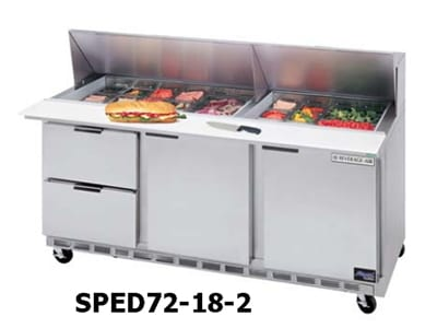 "Beverage Air SPED72-18-6 72"" Sandwich/Salad Prep Table w/ Refrigerated Base, 115v"