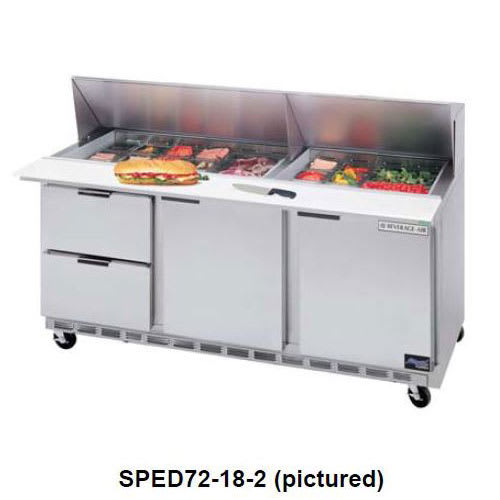 """Beverage Air SPED72-30M-6 72"""" Sandwich/Salad Prep Table w/ Refrigerated Base, 115v"""