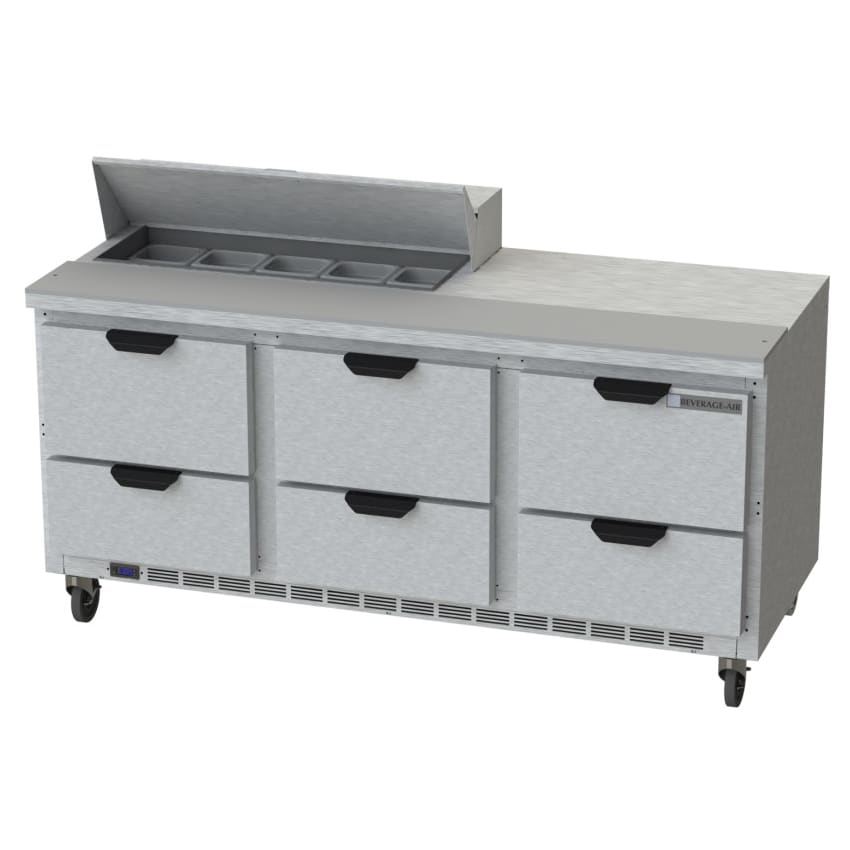 "Beverage Air SPED72HC-10-6 72"" Sandwich/Salad Prep Table w/ Refrigerated Base, 115v"