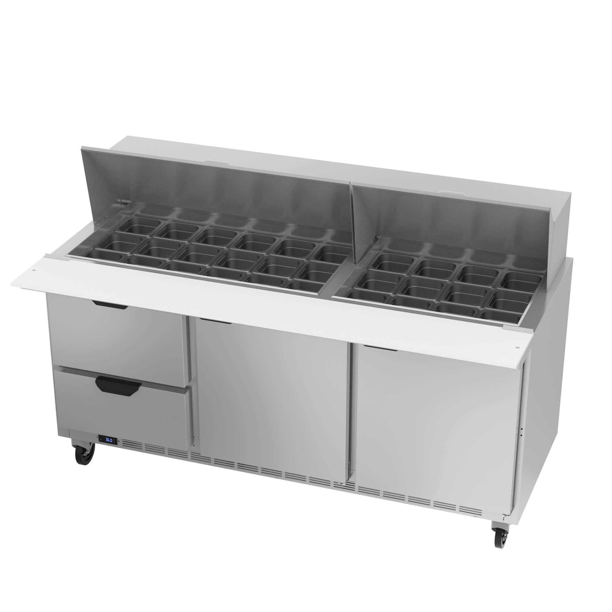 "Beverage Air SPED72HC-30M-2 72"" Mega Top Sandwich/Salad Prep Table w/ Refrigerated Base, 115v"