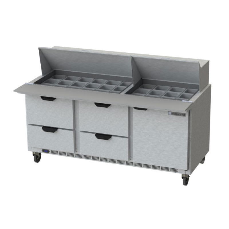 "Beverage Air SPED72HC-30M-4 72"" Sandwich/Salad Prep Table w/ Refrigerated Base, 115v"