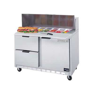 "Beverage Air SPEDP48-12C-2 48"" Sandwich/Salad Prep Table w/ Refrigerated Base, 115v"