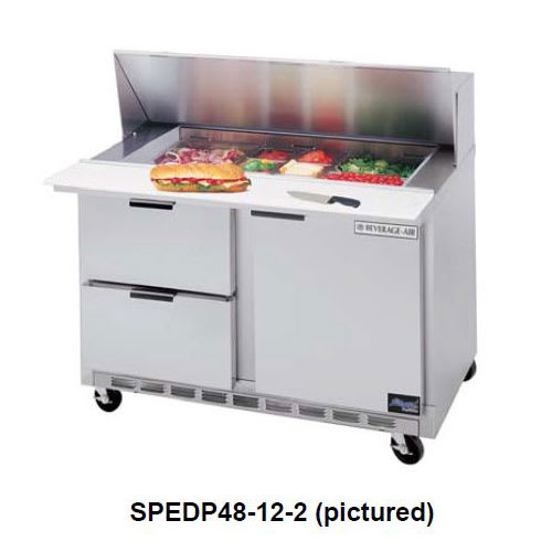 """Beverage Air SPEDP48-12M-4 48"""" Sandwich/Salad Prep Table w/ Refrigerated Base, 115v"""