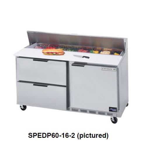 """Beverage Air SPEDP60-12M-2 60"""" Sandwich/Salad Prep Table w/ Refrigerated Base, 115v"""