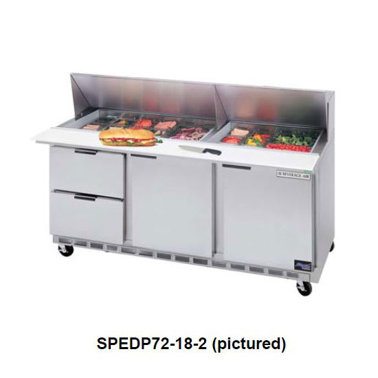 "Beverage Air SPEDP72-08-2 72"" Sandwich/Salad Prep Table w/ Refrigerated Base, 115v"