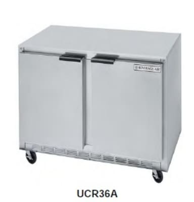 Beverage Air UCR36A 8.5-cu ft Undercounter Refrigerator w/ (2) Sections & (2) Doors, 115v