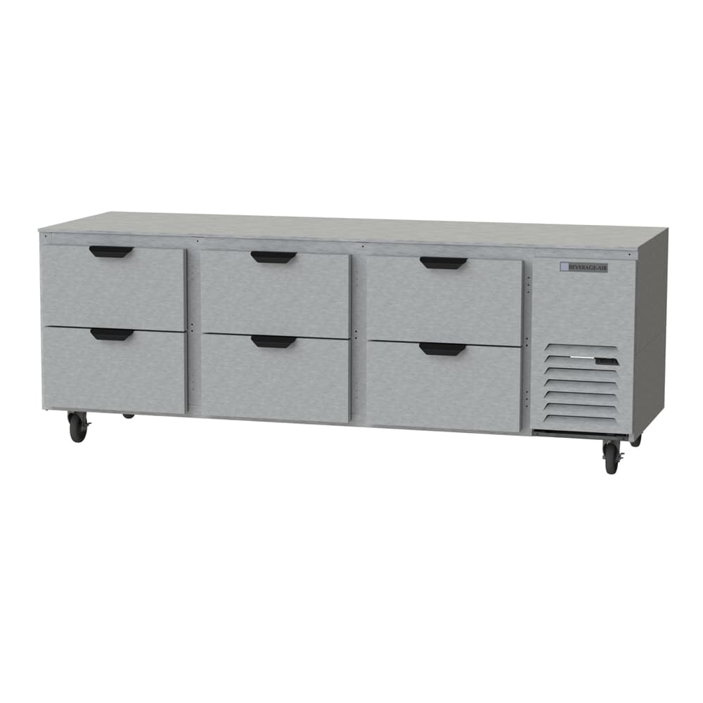 Beverage Air UCRD93AHC-6 39.8 cu ft Undercounter Refrigerator w/ (3) Section & (6) Drawer, 115v