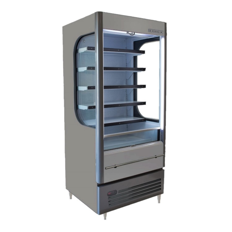 "Beverage Air VM12-1-G-LED 35"" Vertical Open Air Cooler w/ (6) Levels, 115v"