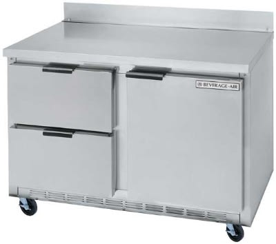"""Beverage Air WTRD48A-2 48"""" Work Top Refrigerator w/ (2) Sections & (2) Drawers, 115v"""