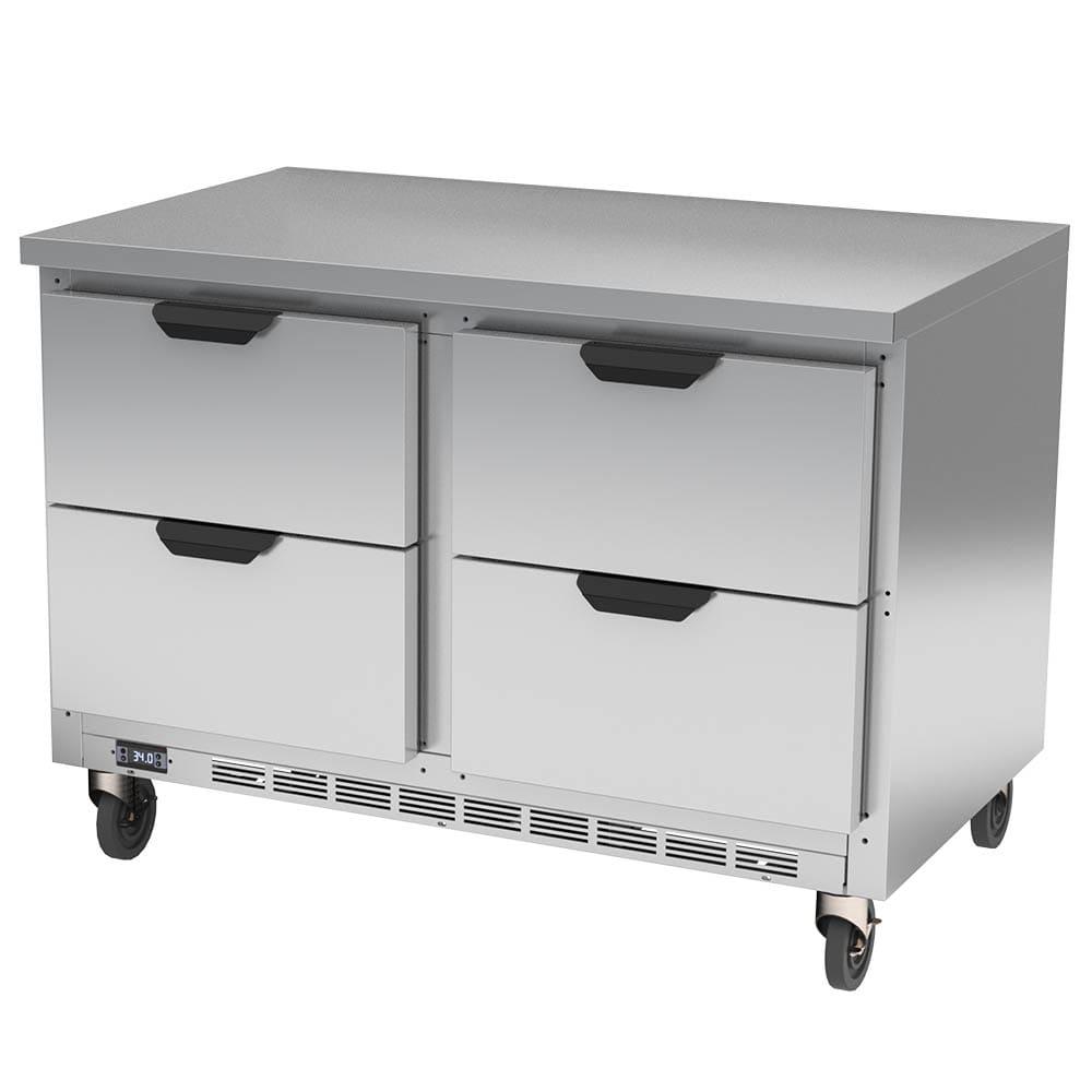 "Beverage Air WTRD48AHC-4-FLT 48"" Worktop Refrigerator w/ (2) Section, 115v"