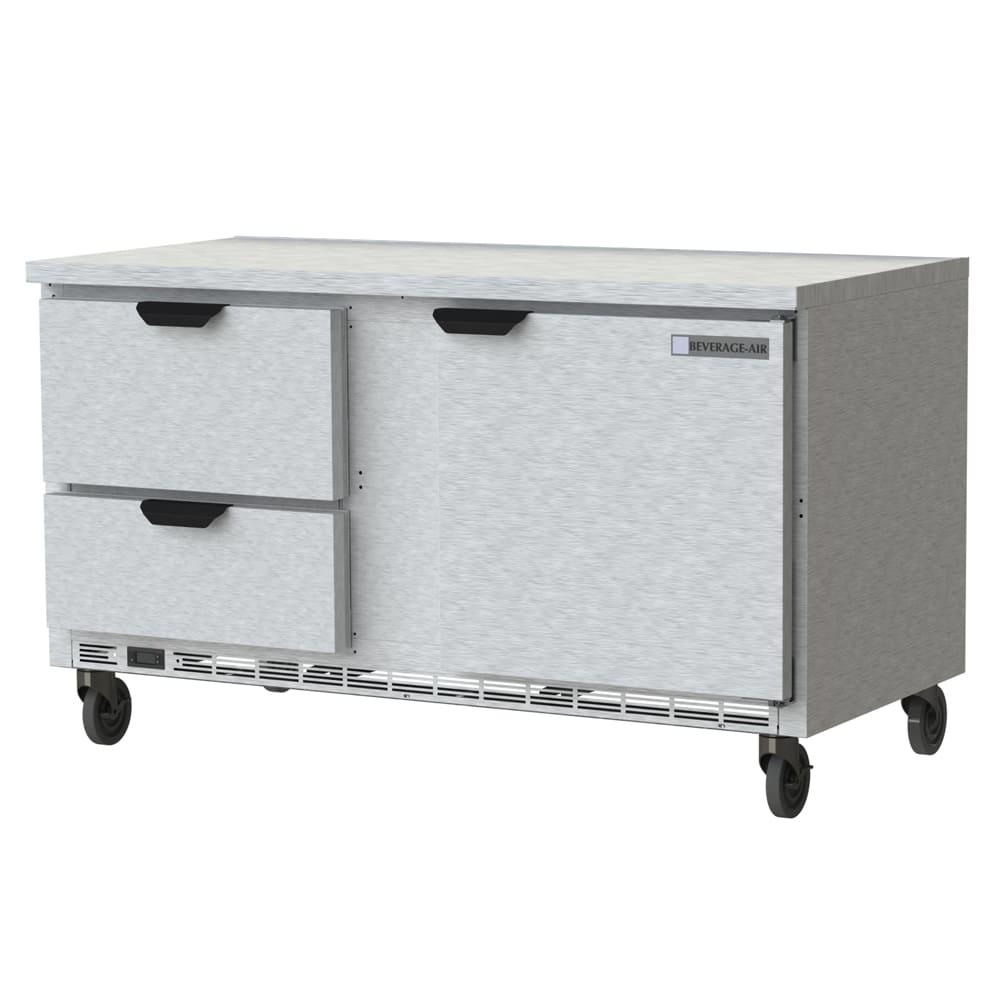 "Beverage Air WTRD60AHC-2-FLT 60"" Worktop Refrigerator w/ (2) Section, 115v"